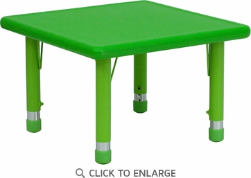 24'' Square Height Adjustable Green Plastic Activity Table