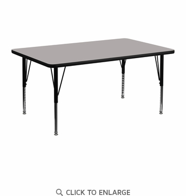 24''W x 48''L Rectangular Activity Table with 1.25'' Thick High Pressure Grey Laminate Top and Height Adjustable Preschool Legs