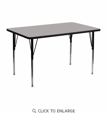 24''W x 48''L Rectangular Activity Table with 1.25'' Thick High Pressure Grey Laminate Top and Standard Height Adjustable Legs