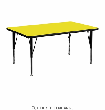 24''W x 48''L Rectangular Activity Table with 1.25'' Thick High Pressure Yellow Laminate Top and Height Adjustable Preschool Legs