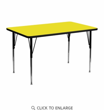 24''W x 48''L Rectangular Activity Table with 1.25'' Thick High Pressure Yellow Laminate Top and Standard Height Adjustable Legs