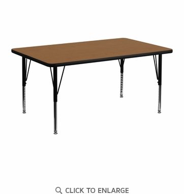 24''W x 48''L Rectangular Activity Table with Oak Thermal Fused Laminate Top and Height Adjustable Preschool Legs