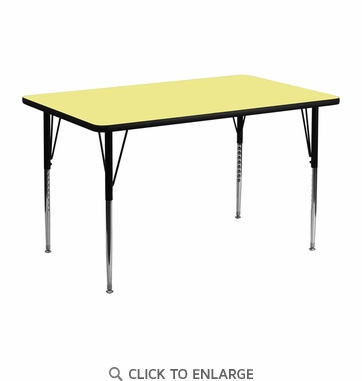 24''W x 48''L Rectangular Activity Table with Yellow Thermal Fused Laminate Top and Standard Height Adjustable Legs