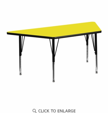 24''W x 48''L Trapezoid Activity Table with 1.25'' Thick High Pressure Yellow Laminate Top and Height Adjustable Preschool Legs