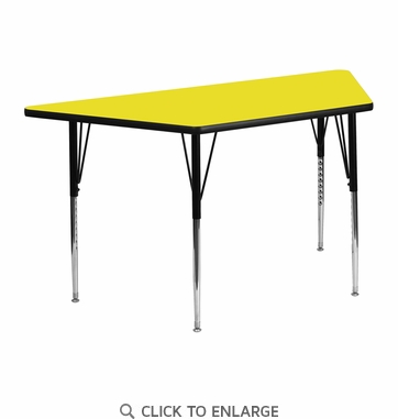 24''W x 48''L Trapezoid Activity Table with 1.25'' Thick High Pressure Yellow Laminate Top and Standard Height Adjustable Legs