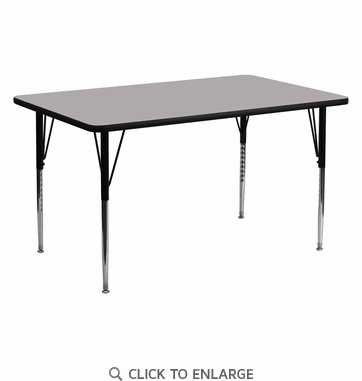 24''W x 60''L Rectangular Activity Table with 1.25'' Thick High Pressure Grey Laminate Top and Standard Height Adjustable Legs