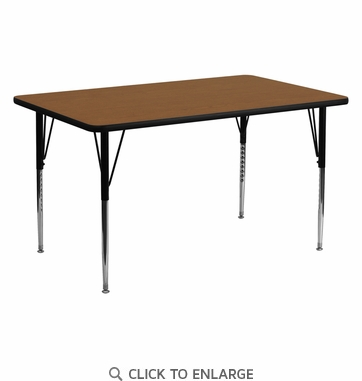24''W x 60''L Rectangular Activity Table with 1.25'' Thick High Pressure Oak Laminate Top and Standard Height Adjustable Legs