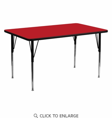 24''W x 60''L Rectangular Activity Table with 1.25'' Thick High Pressure Red Laminate Top and Standard Height Adjustable Legs