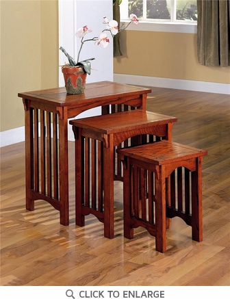 3 Piece Oak Finish Mission Style Nesting Tables by Coaster - 901049