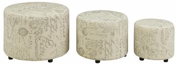 3 Piece Round Ottoman Set with French Script Pattern by Coaster 508017