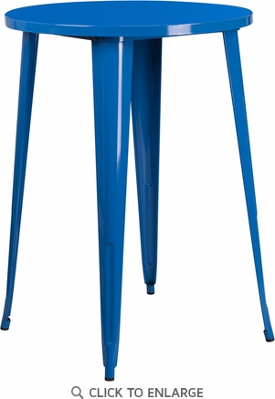 30'' Round Blue Metal Indoor-Outdoor Bar Height Table [CH-51090-40-BL-GG]