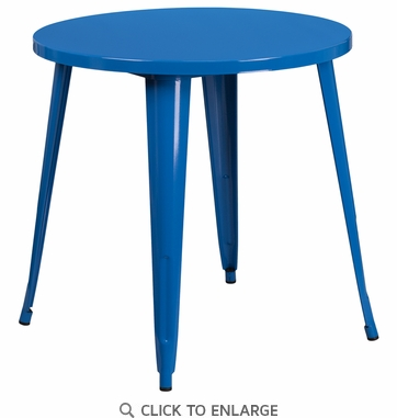 30'' Round Blue Metal Indoor-Outdoor Table [CH-51090-29-BL-GG]