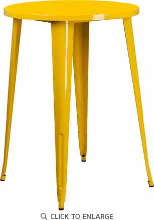 30'' Round Yellow Metal Indoor-Outdoor Bar Height Table [CH-51090-40-YL-GG]
