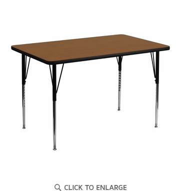 30''W x 48''L Rectangular Activity Table with 1.25'' Thick High Pressure Oak Laminate Top and Standard Height Adjustable Legs