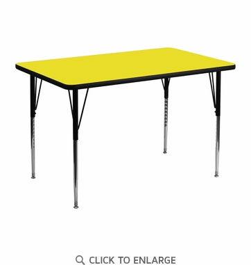 30''W x 48''L Rectangular Activity Table with 1.25'' Thick High Pressure Yellow Laminate Top and Standard Height Adjustable Legs