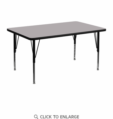 30''W x 48''L Rectangular Activity Table with Grey Thermal Fused Laminate Top and Height Adjustable Preschool Legs