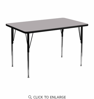 30''W x 48''L Rectangular Activity Table with Grey Thermal Fused Laminate Top and Standard Height Adjustable Legs