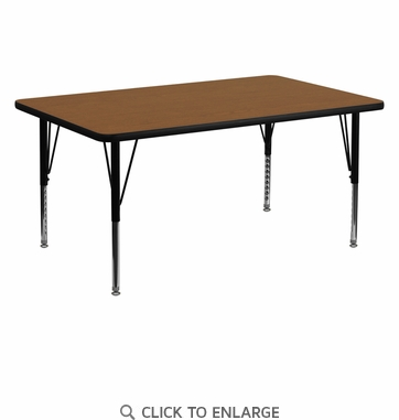30''W x 60''L Rectangular Activity Table with 1.25'' Thick High Pressure Oak Laminate Top and Height Adjustable Preschool Legs