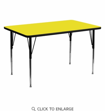 30''W x 60''L Rectangular Activity Table with 1.25'' Thick High Pressure Yellow Laminate Top and Standard Height Adjustable Legs