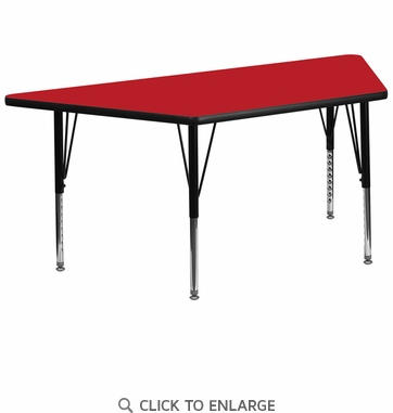 30''W x 60''L Trapezoid Activity Table with 1.25'' Thick High Pressure Red Laminate Top and Height Adjustable Preschool Legs