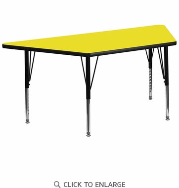 30''W x 60''L Trapezoid Activity Table with 1.25'' Thick High Pressure Yellow Laminate Top and Height Adjustable Preschool Legs