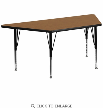 30''W x 60''L Trapezoid Activity Table with Oak Thermal Fused Laminate Top and Height Adjustable Preschool Legs