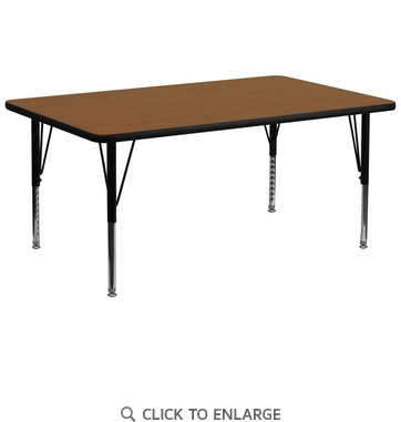 30''W x 72''L Rectangular Activity Table with 1.25'' Thick High Pressure Oak Laminate Top and Height Adjustable Preschool Legs