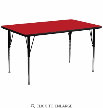 30''W x 72''L Rectangular Activity Table with 1.25'' Thick High Pressure Red Laminate Top and Standard Height Adjustable Legs
