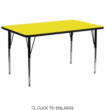 30''W x 72''L Rectangular Activity Table with 1.25'' Thick High Pressure Yellow Laminate Top and Standard Height Adjustable Legs