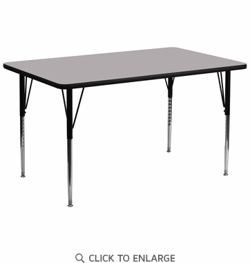 30''W x 72''L Rectangular Activity Table with Grey Thermal Fused Laminate Top and Standard Height Adjustable Legs
