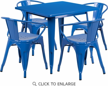 31.5'' Square Blue Metal Indoor Table Set with 4 Arm Chairs [ET-CT002-4-70-BL-GG]