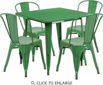 31.5'' Square Green Metal Indoor Table Set with 4 Stack Chairs [ET-CT002-4-30-GN-GG]