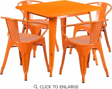 31.5'' Square Orange Metal Indoor Table Set with 4 Arm Chairs [ET-CT002-4-70-OR-GG]