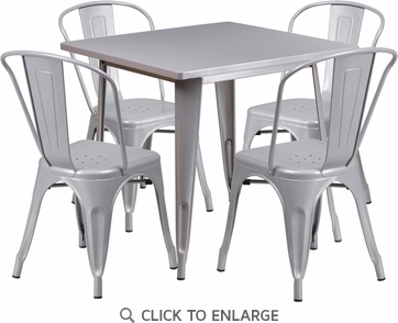 31.5'' Square Silver Metal Indoor Table Set with 4 Stack Chairs [ET-CT002-4-30-SIL-GG]