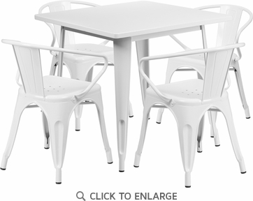 31.5'' Square White Metal Indoor Table Set with 4 Arm Chairs [ET-CT002-4-70-WH-GG]