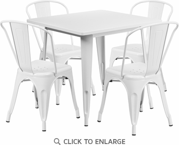 31.5'' Square White Metal Indoor Table Set with 4 Stack Chairs [ET-CT002-4-30-WH-GG]