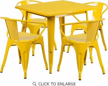 31.5'' Square Yellow Metal Indoor Table Set with 4 Arm Chairs [ET-CT002-4-70-YL-GG]