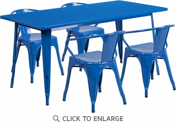 31.5'' x 63'' Rectangular Blue Metal Indoor Table Set with 4 Arm Chairs [ET-CT005-4-70-BL-GG]