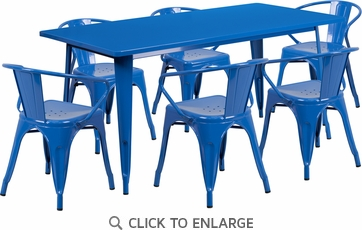 31.5'' x 63'' Rectangular Blue Metal Indoor Table Set with 6 Arm Chairs [ET-CT005-6-70-BL-GG]