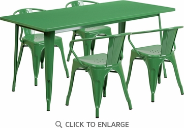 31.5'' x 63'' Rectangular Green Metal Indoor Table Set with 4 Arm Chairs [ET-CT005-4-70-GN-GG]