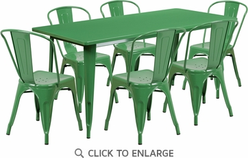 31.5'' x 63'' Rectangular Green Metal Indoor Table Set with 6 Stack Chairs [ET-CT005-6-30-GN-GG]