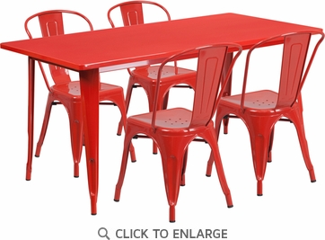 31.5'' x 63'' Rectangular Red Metal Indoor Table Set with 4 Stack Chairs [ET-CT005-4-30-RED-GG]