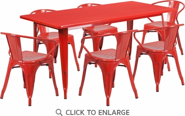31.5'' x 63'' Rectangular Red Metal Indoor Table Set with 6 Arm Chairs [ET-CT005-6-70-RED-GG]