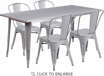 31.5'' x 63'' Rectangular Silver Metal Indoor Table Set with 4 Stack Chairs [ET-CT005-4-30-SIL-GG]