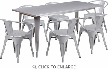 31.5'' x 63'' Rectangular Silver Metal Indoor Table Set with 6 Arm Chairs [ET-CT005-6-70-SIL-GG]