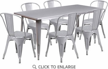 31.5'' x 63'' Rectangular Silver Metal Indoor Table Set with 6 Stack Chairs [ET-CT005-6-30-SIL-GG]