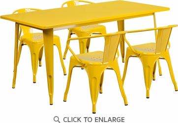 31.5'' x 63'' Rectangular Yellow Metal Indoor Table Set with 4 Arm Chairs [ET-CT005-4-70-YL-GG]