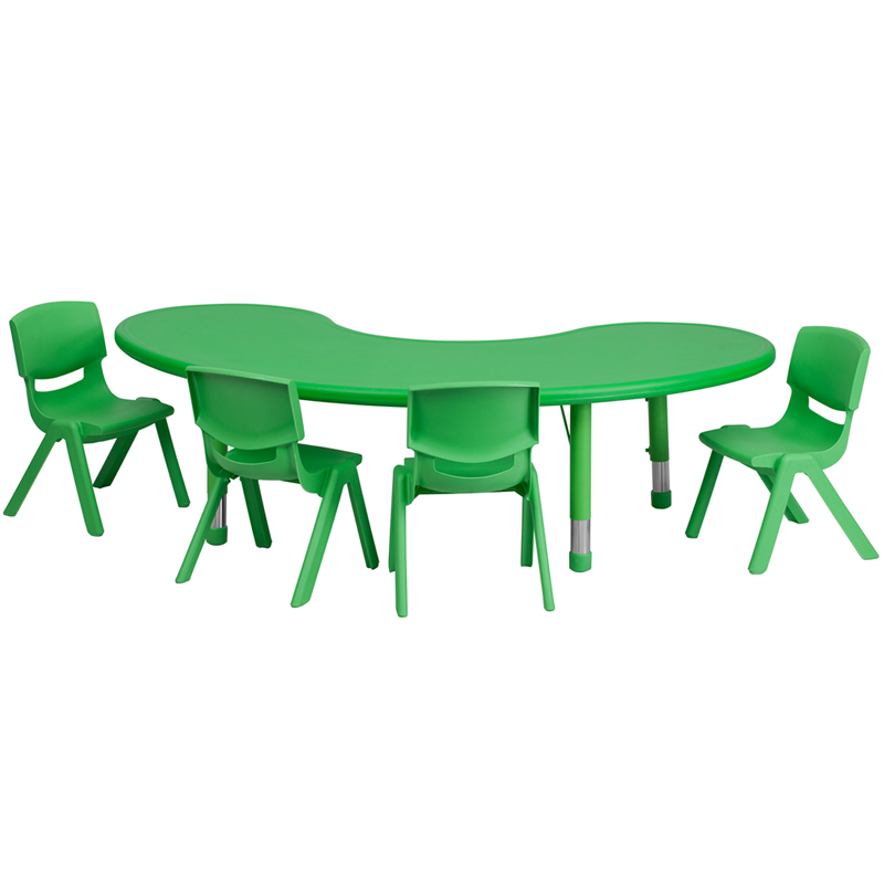 35 W x 65 L Adjustable Half Moon Green Plastic Activity Table Set with 4  School Stack Chairs35 W x 65 L Adjustable Half Moon Green Plastic Activity Table  . Green Plastic Stack Chairs. Home Design Ideas