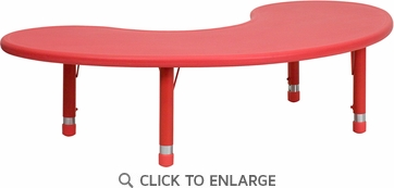 35''W x 65''L Height Adjustable Half-Moon Red Plastic Activity Table