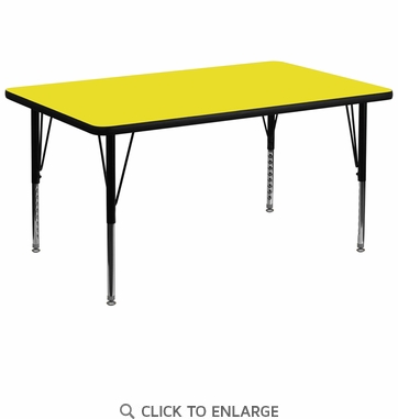 36''W x 72''L Rectangular Activity Table with 1.25'' Thick High Pressure Yellow Laminate Top and Height Adjustable Preschool Legs
